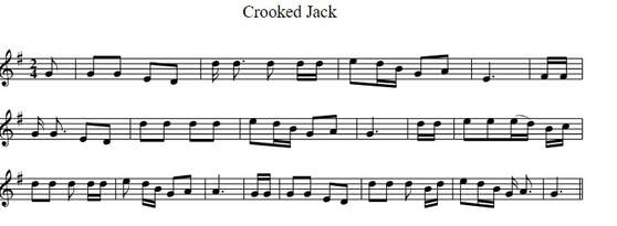Crooked Jack sheet music in the key of G