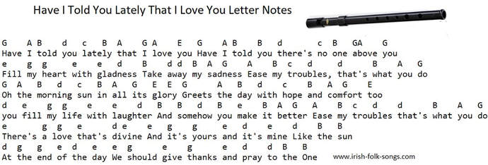Have I told you lately that I Love you letter notes