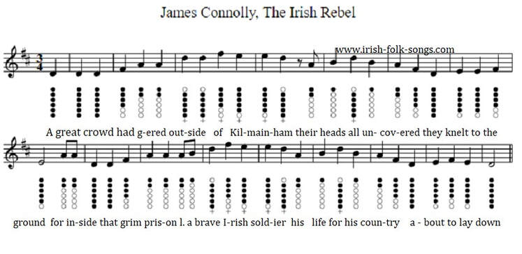James Connolly The Irish Rebel sheet music in D for tin whistle
