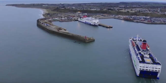 Stena ferry boat arriving at Rosslare Harbour showing the sea and coastline