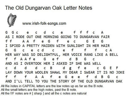 The old Dungarvan Oak music letter notes