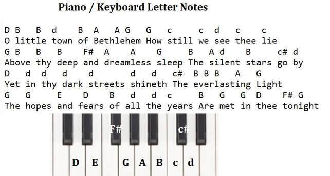 Oh little town in Bethlehem piano keyboard letter notes