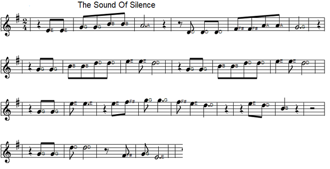 The sound of Silence sheet music in G Major for beginners