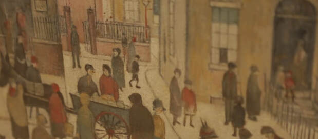 Street Hawker painting by L.S. Lowry