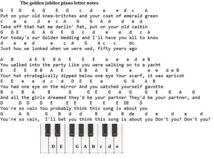 The golden jubilee piano letter notes