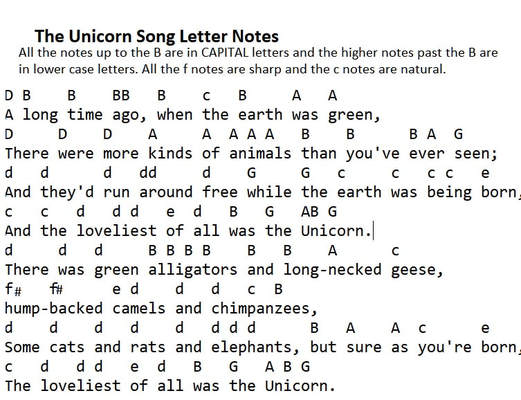 The unicorn song letter notes by The Irish Rovers