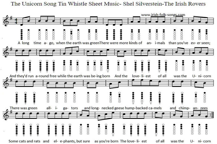The Unicorn Song Sheet Music For Tin Whistle