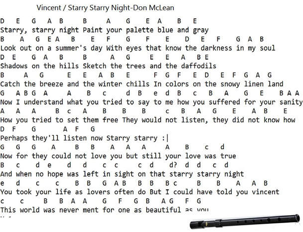 Vincent / Starry Starry Night Tin Whistle Notes