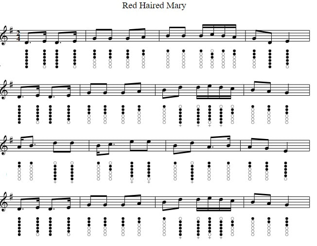 Red Haired Mary Sheet Music For Tin Whistle in the key of G Major