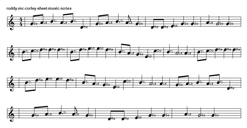 Roddy McCorley sheet music notes in do re mi, an Irish rebel song