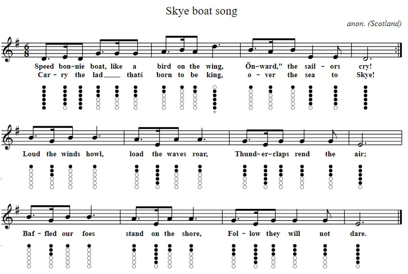 Skye boat song music notes in G