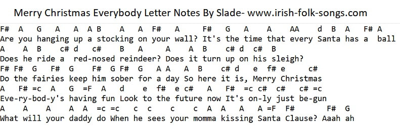 Slade merry Christmas everybody tin whistle letter notes