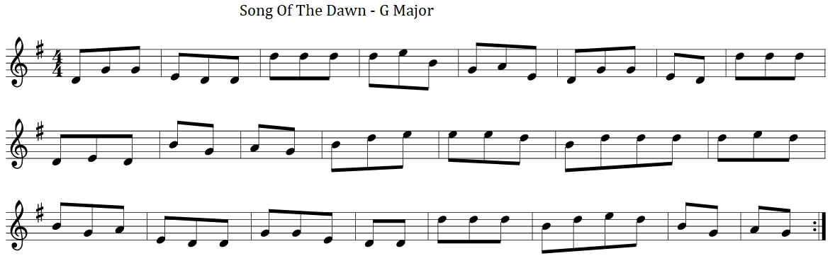 Irish sheet music song of the dawn in G Major