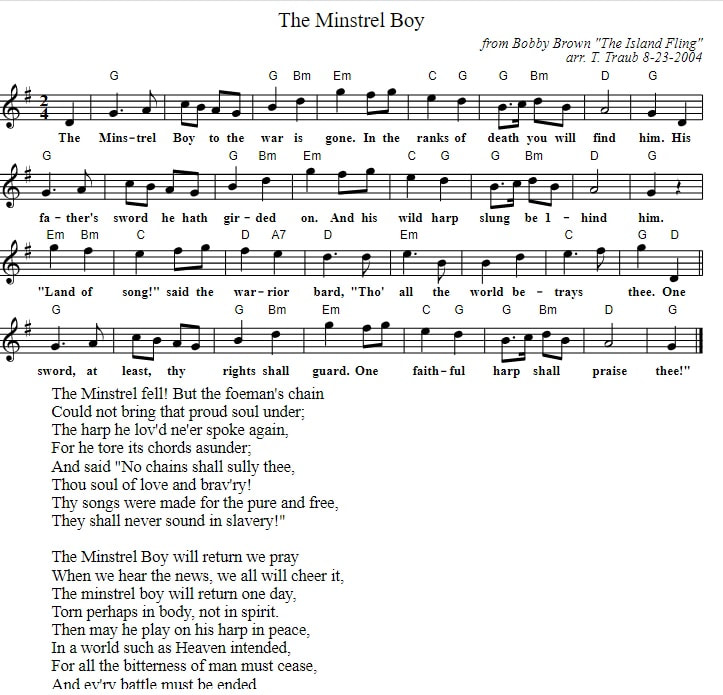 the minstrel boy piano sheet music with chords and lyrics in G Major