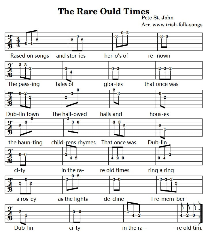 The rare old times guitar tab