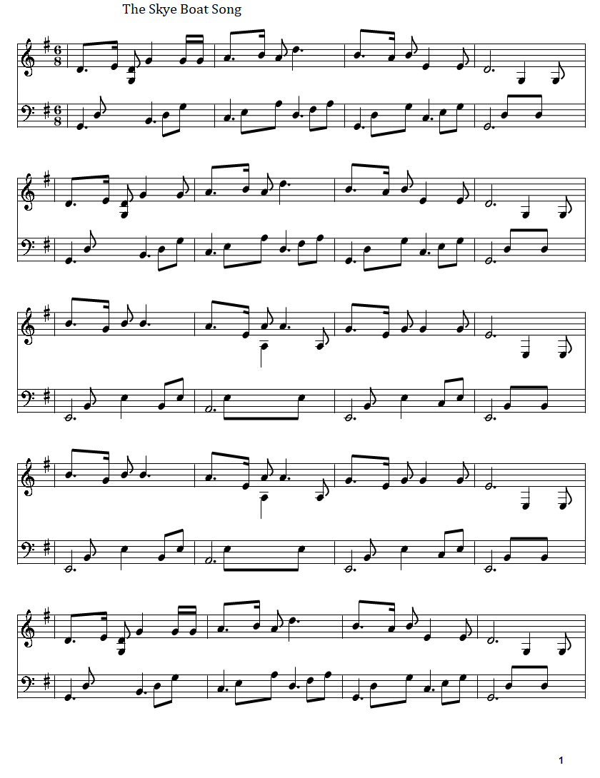 The skye boat song full sheet music in G Major with bass notes