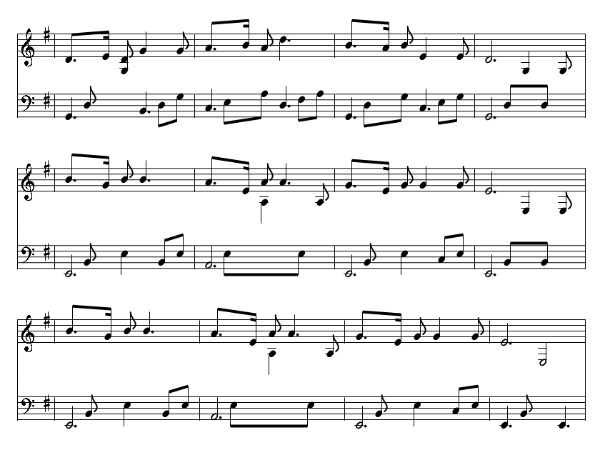 The skye boat song music notes in the key of G Major