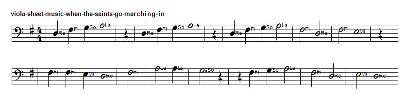 Viola sheet music in G Major when the saints go marching in