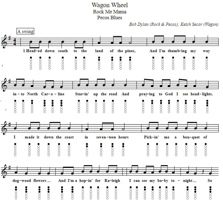 Wagon wheel piano and tin whistle sheet music