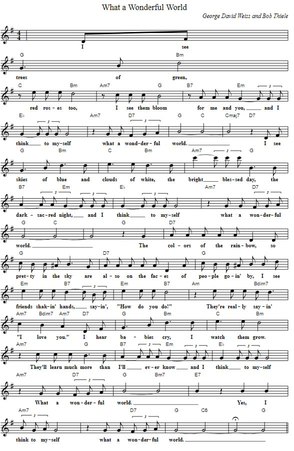 what a wonderful world piano sheet music with chords and lyrics