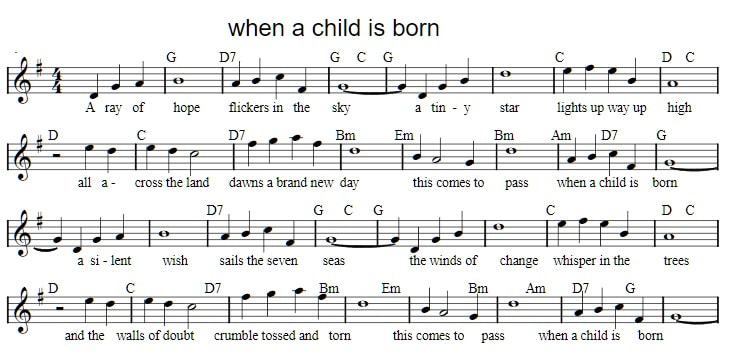 free christmas sheet music when a child is born